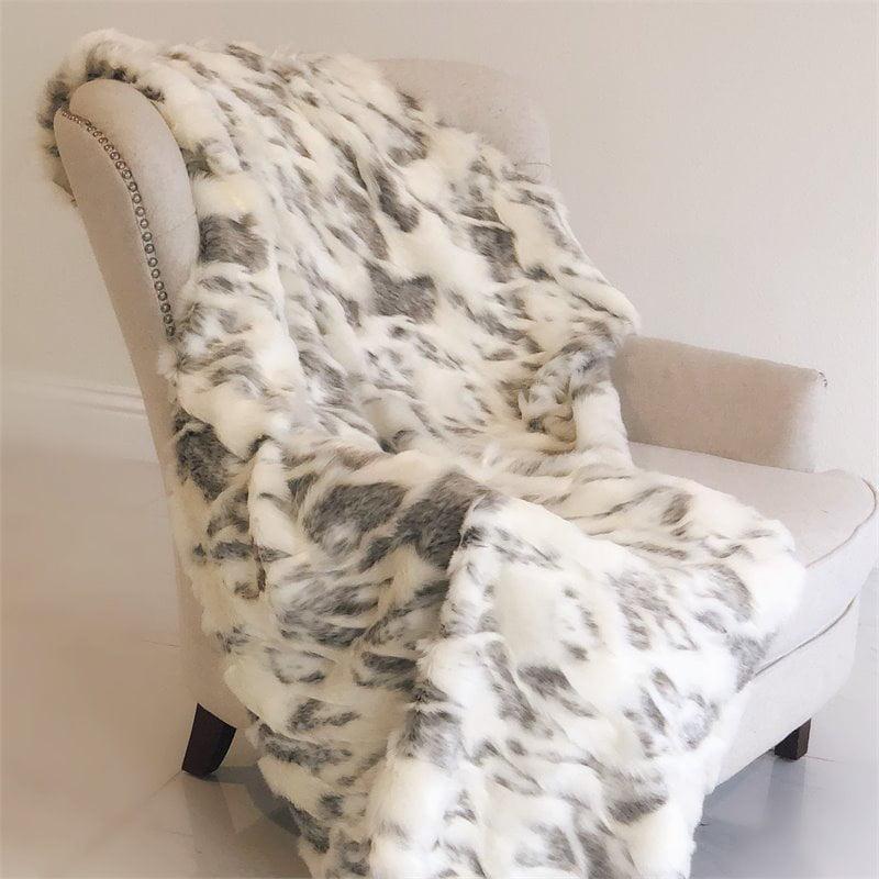 "Plutus Ivory Rabbit Faux Fur Handmade Luxury Throw 110""W x 96""L"