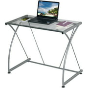 Techni Mobili Tempo Grey Desk, Multiple Glass Finishes