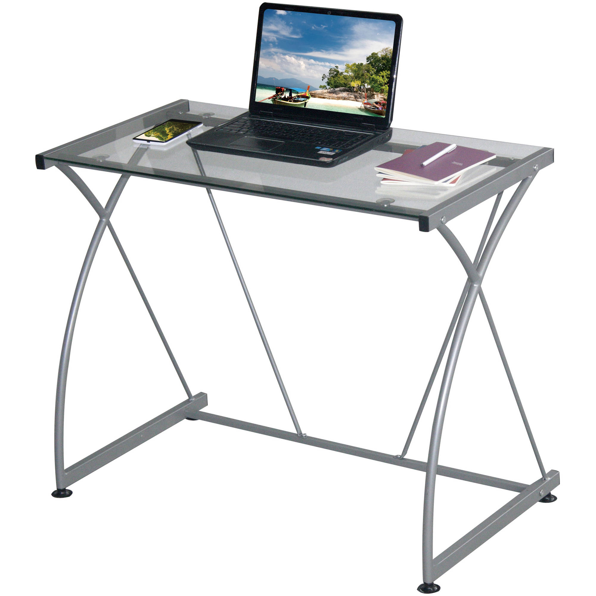 Tempo Clear Glass Desk With Grey Steel F