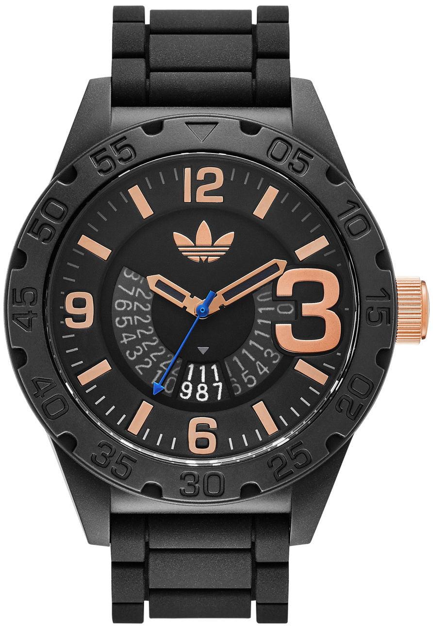 Adidas ADH3082 Unisex Originals Newburg Black Silicone Band 3-Hand Analog Watch by