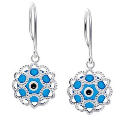 Blue Nazar Evil Eye Round Filigree Spiritual Protection Drop Earrings For Women Teen Murano Glass 925 Sterling Silver