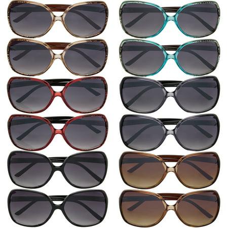 12 Pairs Vox Trendy Sunoptics Womens Plastic Sunglasses 100% UVA (Sunglasses Deal Online)