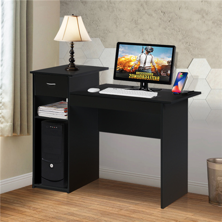 Yaheetech Computer Desk with Drawers and Storage Shelves, Black ()