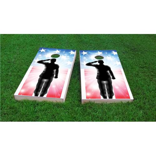 Custom Cornhole Boards American Flag Soldier Salute Light Weight Cornhole Game Set by Custom Cornhole Boards