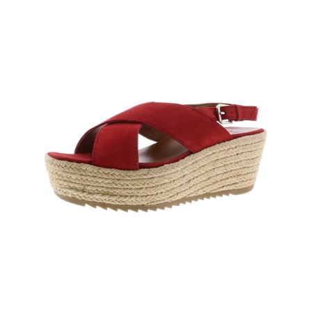 Naturalizer Womens Oak Criss-Cross Front Espadrilles Red Suede Wedge