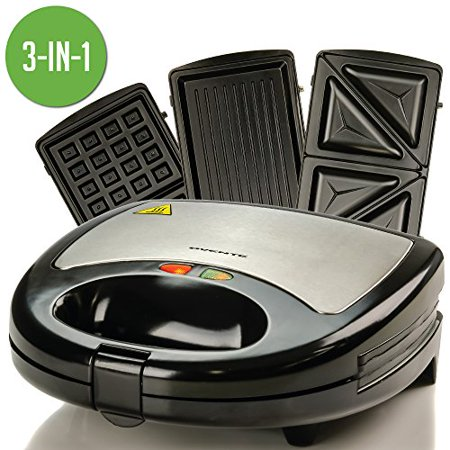 Ovente 3-in-1 Electric Sandwich Maker with Detachable Non-Stick Waffle and Grill Plates, 750-Watts, LED Indicator Lights, Cool Touch Handle, Anti-Skid Feet, Black (GPI302B) Cool Touch Double Grill