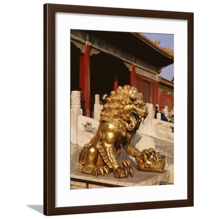 Close-Up of Lion Statue, Imperial Palace, Forbidden City, Beijing, China Framed Print Wall Art By Adina Tovy ()