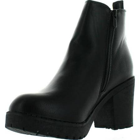 refresh club-01 women's elastic panel slip on chunky heel ankle