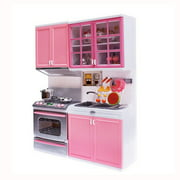 Tuscom Xmas Gift Mini Kids Kitchen Pretend Play Cooking Set Cabinet Stove Girls Toy