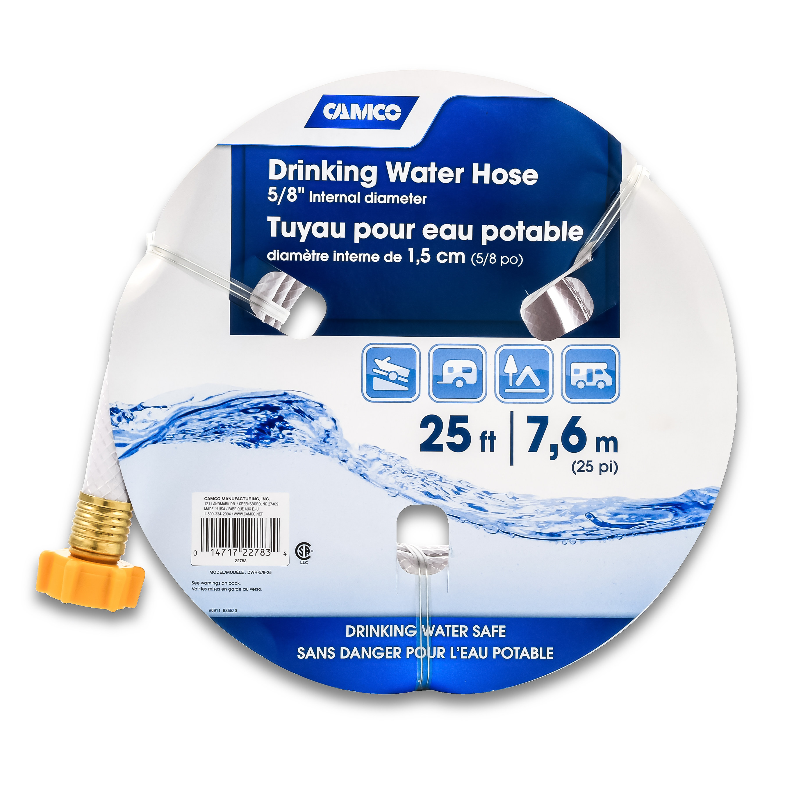 "Camco 25ft TastePURE Drinking Water Hose 22783 - Lead BPA Free, Reinforced Maximum Kink Resistance 5/8"" Inner Diameter"