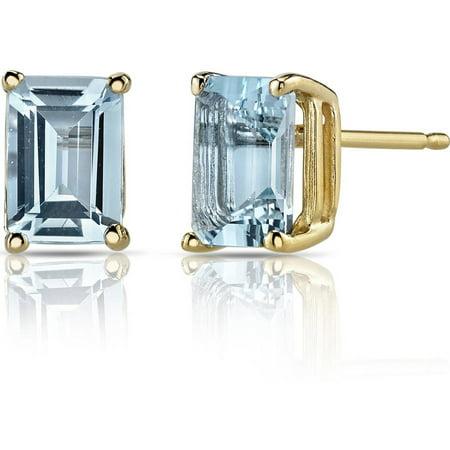 Aquamarine Jewelry (1.75 Carat T.G.W. Emerald-Cut Aquamarine 14kt Yellow Gold Stud Earrings)