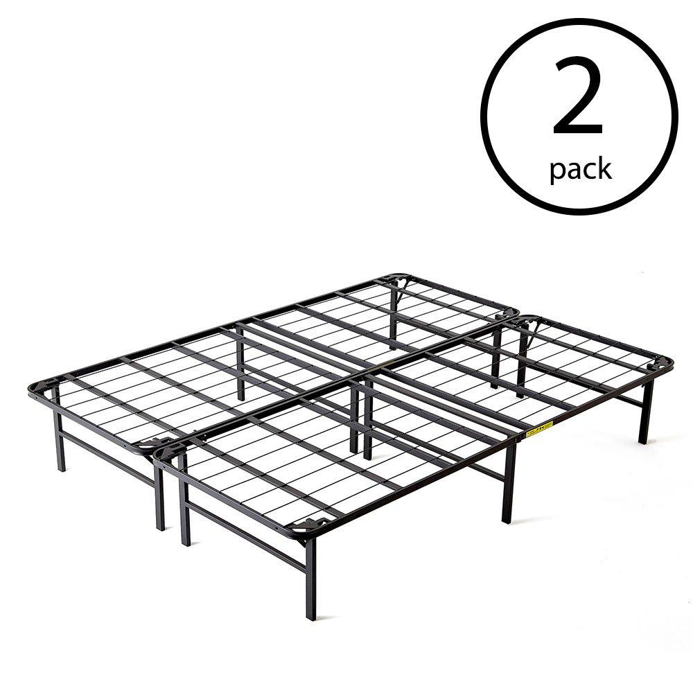 intelliBASE Lightweight Bi Fold Platform Metal Bed Frame, Full Size (2 Pack)