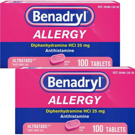 (2 Pack) Benadryl Ultratab Antihistamine Allergy Medicine Tablets, 100 ct