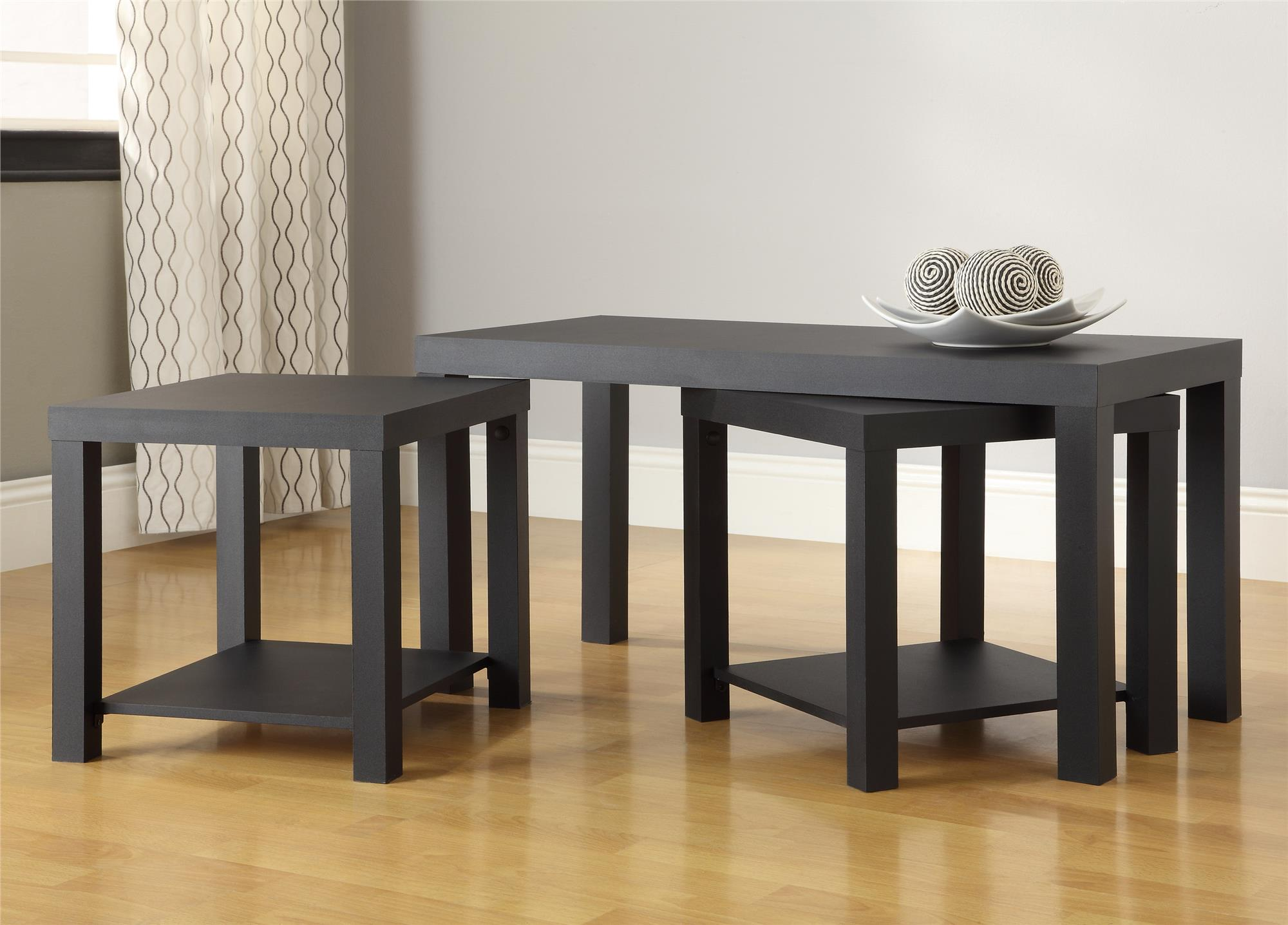 Ameriwood Home Holly Bay Coffee Table And End Table Set Black