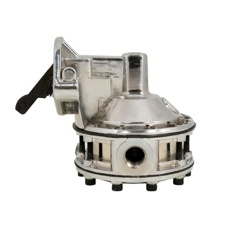 TSP SB Chevy 6 Valve Mechanical Race Pump - 110GPH Fuel Pump Silver JM1015C Chrome Fuel Pump Cover