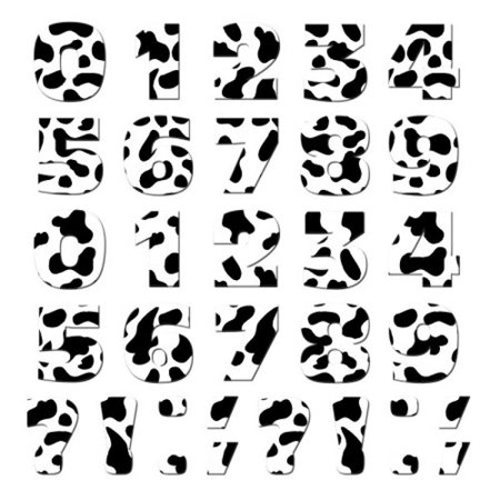 Graphics and More Numbers Punctuation Novelty Gift Locker Refrigerator Vinyl Magnet Set, Cow Print Animals
