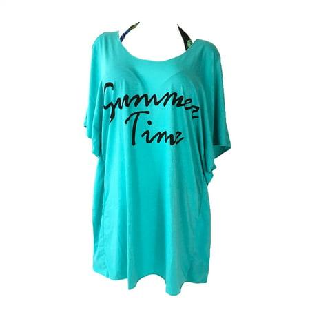 Summer Time Cold Shoulder Beach T-Shirt Dress Swim Cover Up, Aqua Cold Shoulder Swim Cover