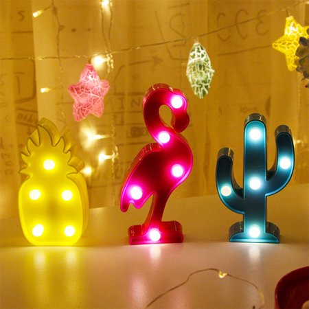 3D Flamingo LED Lamp Decorative Marquee Signs Letter Flamingo Night Light Wall Decoration for Living Room,Bedroom,Home, Christmas (Battery