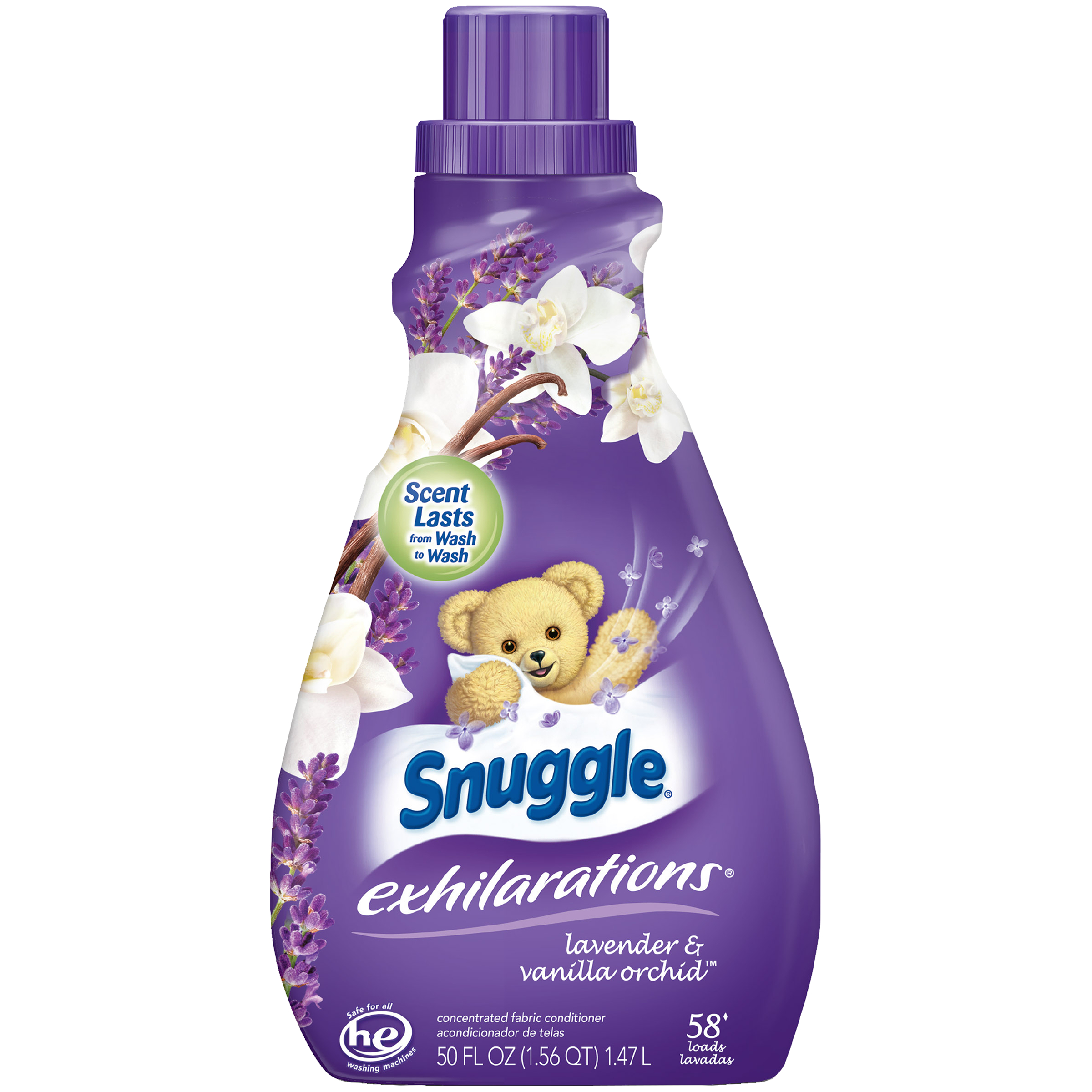 Snuggle Exhilarations Liquid Fabric Softener, Lavender & Vanilla Orchid, 50 Ounce, 58 Loads