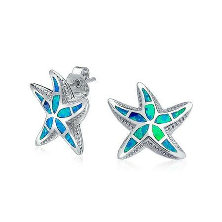 Nautical Hawaiian Beach Starfish Blue Created Opal Inlay Starfish Stud Earrings for Women 925 Sterling Silver