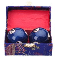 Traditional Chinese Health Exercise Stress Message Balls with Chime, Blue Yin Yang, 2 Inches
