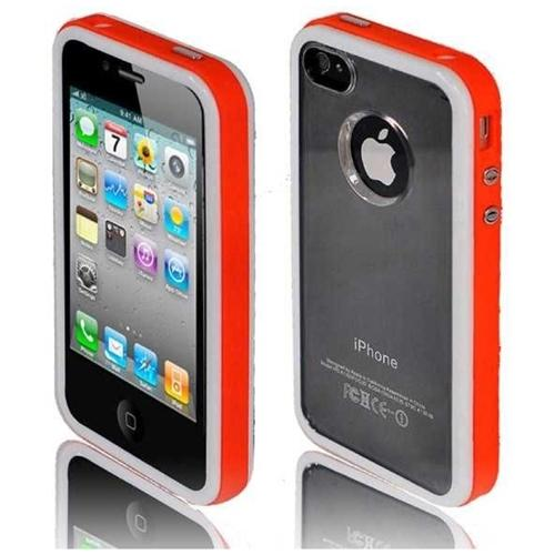 INSTEN For iPhone 4 4S Quadruple Premium Fusion Case Case - White+Orange+Transparent+Black