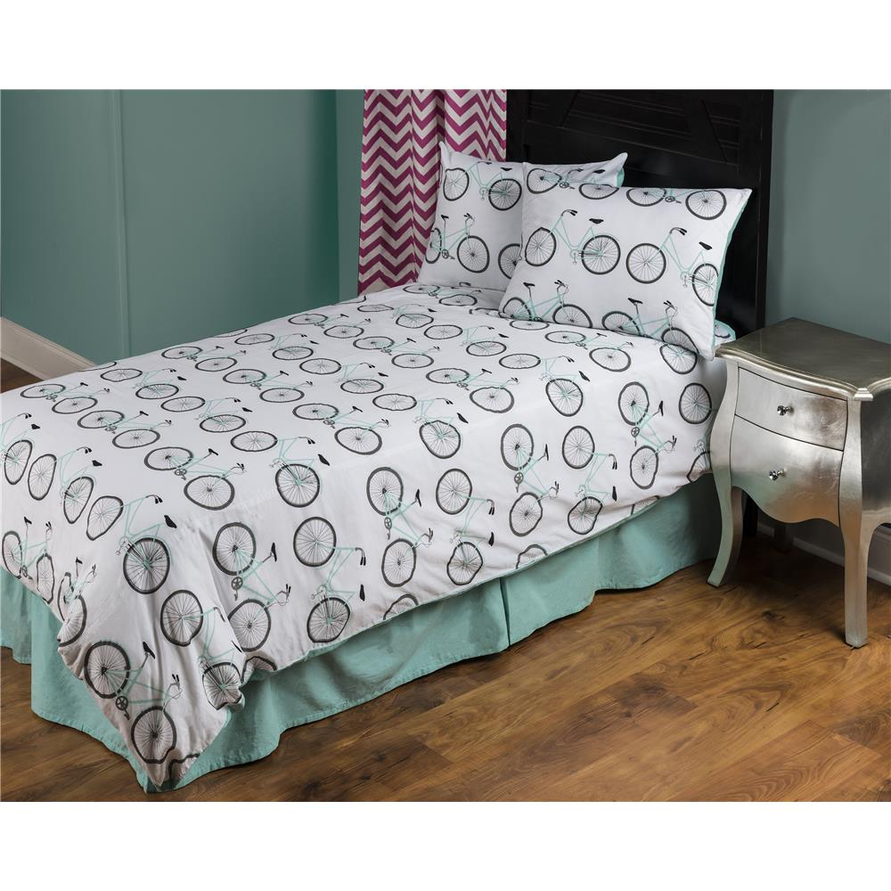 Rizzy Home Bicycle Aqua Cotton Twin  Kids Comforter Set