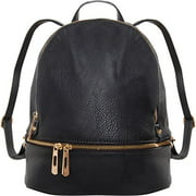 Humble Chic Multi-Zip Vegan Leather Backpack - Classic Bookbag Shoulder Purse Handbag Satchel School Bag, Black