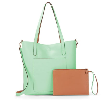 150d3e4d85 Time and TRU - Leigh North South Reversible Tote with Pouch - Walmart.com