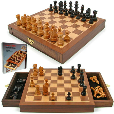 Chess Set - Inlaid Walnut style Magnetized Wood with Staunton Wood Chessmen by Hey! Play! Deluxe Staunton Chess Set