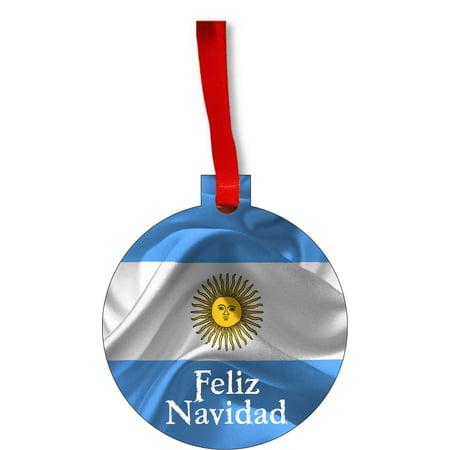 Flag Argentina Feliz Navidad Round Shaped Flat Hardboard Christmas Ornament Tree Decoration - Unique Modern Novelty Tree Décor Favors - Feliz Navidad Decorations