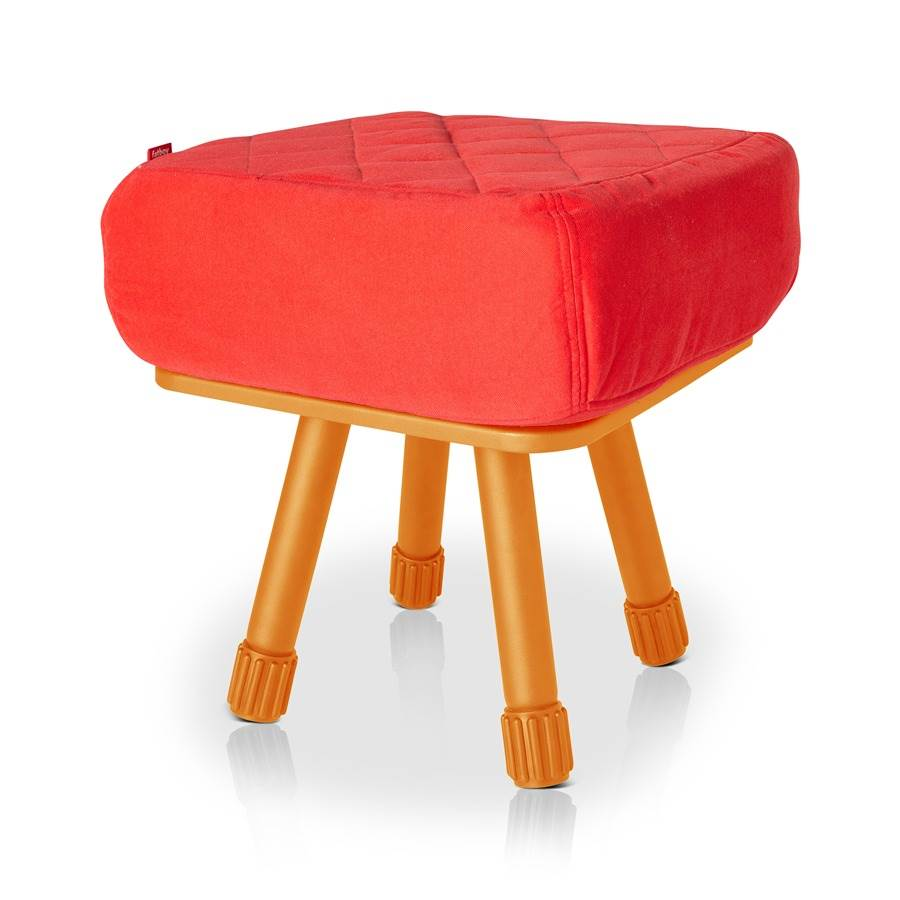 Krukski Stool in Orange with Red Tablitski Cushion