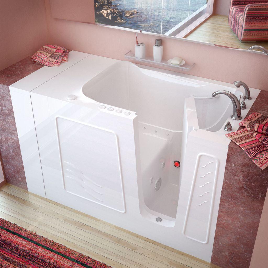 Meditub 30x53 Right Drain White Whirlpool & Air Jetted Walk-In Bathtub