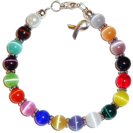 - Hidden Hollow Beads MULTI Cancer Awareness Bracelet, 8mm beads, 7 3/4 inches long with extentions