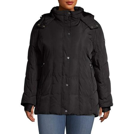 Plus Faux Fur-Lined Hooded Jacket