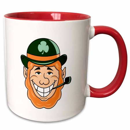 - 3dRose leprechaun bowler hat green pipe head smiling - Two Tone Red Mug, 11-ounce