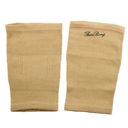 Sports Elastic Fabric Band Sleeve Knee Support Brace Protector Khaki (Elastic Support Knee Brace)