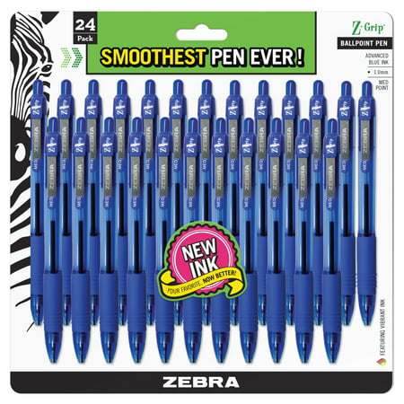 Zebra Z-Grip Ballpoint Pen, Medium- Blue Ink (24 Per Pack)