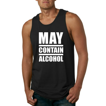 Funny May Contain Alcohol Party | Mens Drinking Graphic Tank Top, Black, Large (Funny Tanks Men)
