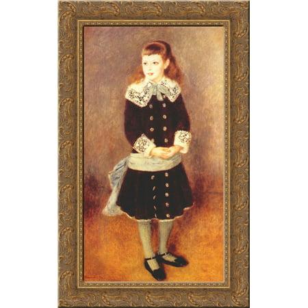 Marthe Berard (Girl Wearing a Blue Sash) 17x24 Gold Ornate Wood Framed Canvas Art by Renoir, Pierre Auguste
