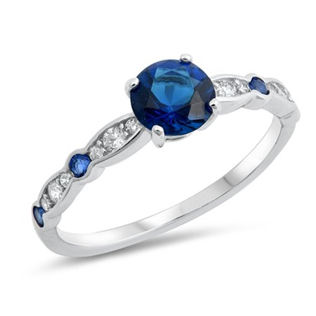 Blue Simulated Sapphire Round Solitaire Vibrant Ring Sterling Silver Band Size 10