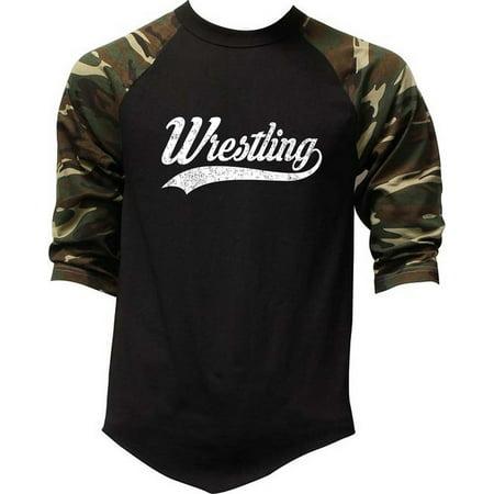 Men's Script Wrestling Camo Raglan Baseball T-Shirt 2X-Large (Script Camo)