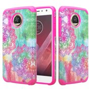 Motorola Moto Z2 Play Case, Hybrid Shockproof Impact Rubber Dual Layer Hard Soft Protective Hard Case Cover Phone Case for Moto Z2 Play Rainbow Flower