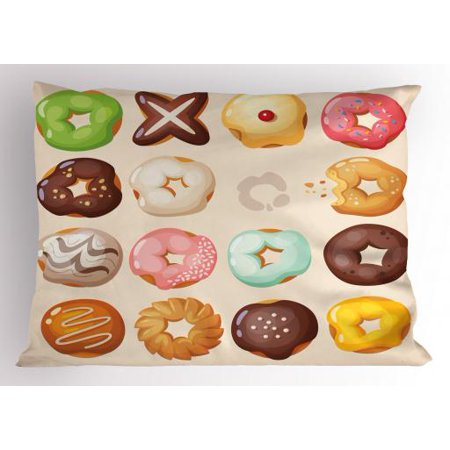 Donut Pillow Sham Different Kinds of Delicious Doughnuts Glazed Sweet Jelly Pastries Sugary Treats, Decorative Standard Size Printed Pillowcase, 26 X 20 Inches, Multicolor, by Ambesonne