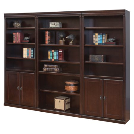 Martin Furniture Huntington Club 96 in. Wood Wall Bookcase with Doors - Cherry