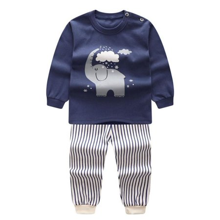 Children's Underwear Set Cotton Boy Pajamas Autumn Winter Clothing Shoulder Buckle Long Sleeve Autumn Clothes Autumn (Autumn Gown)