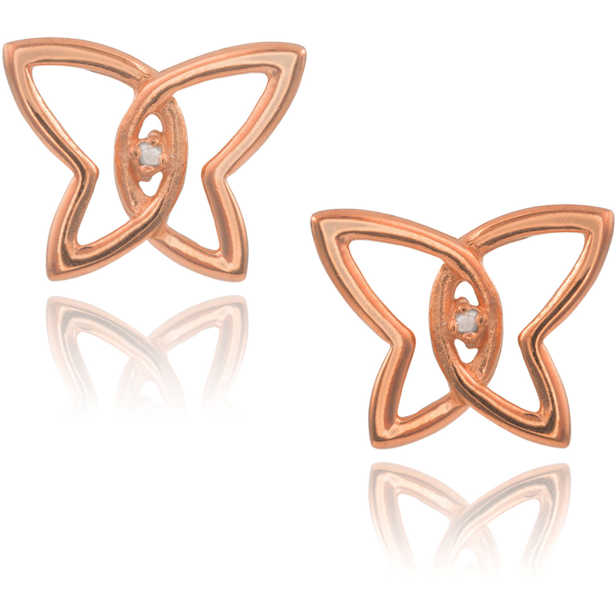 Brinley Co. Women's 0.02 Carat T.W. Diamond Accent Sterling Silver Butterfly Stud Earrings, Rose Gold