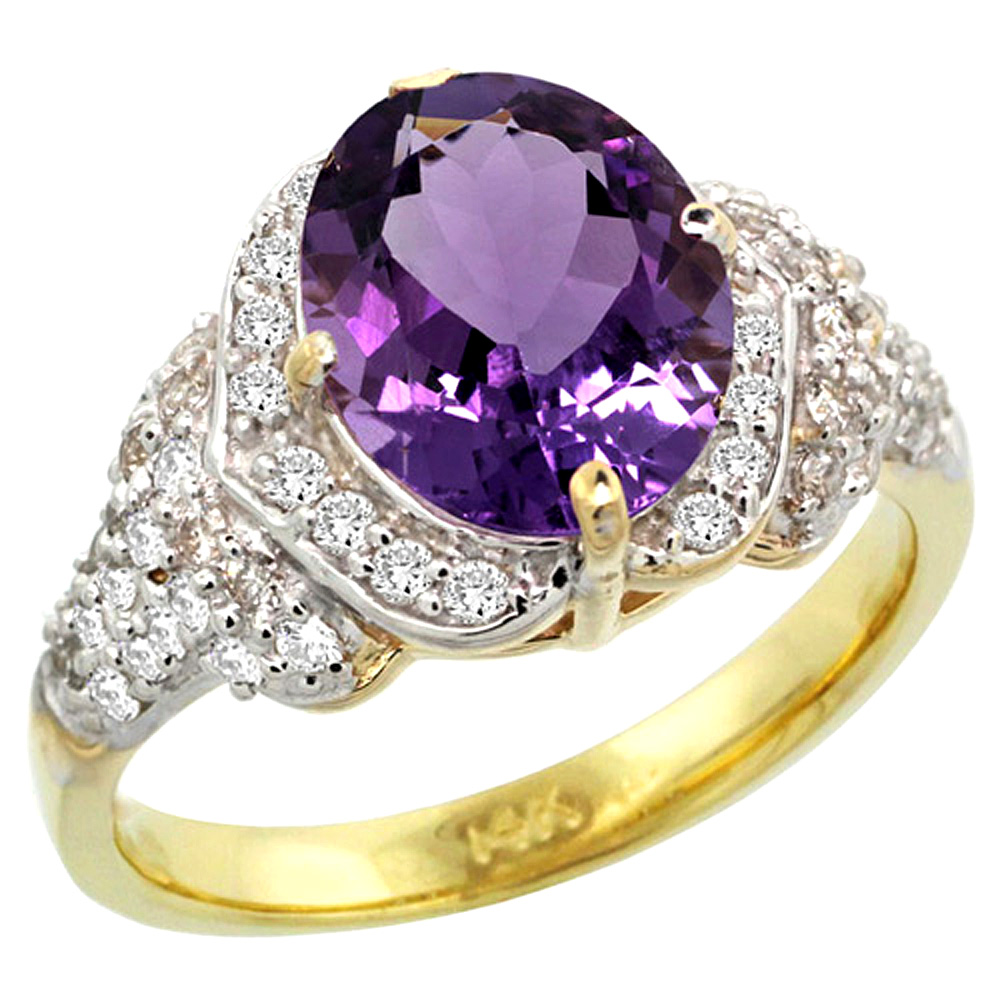 14k Yellow Gold Natural Amethyst Ring Diamond Halo Oval 10x8mm, 1 2 inch wide, size 5 by Gabriella Gold