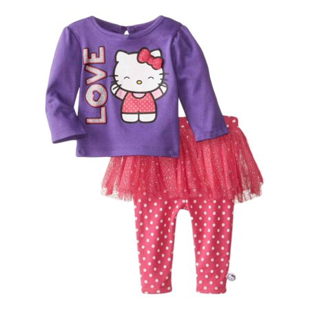 Hello Kitty Infant Girl Love 2 PC Outfit Purple Pink Dot Tutu - Hello Kitty Tutu Dress