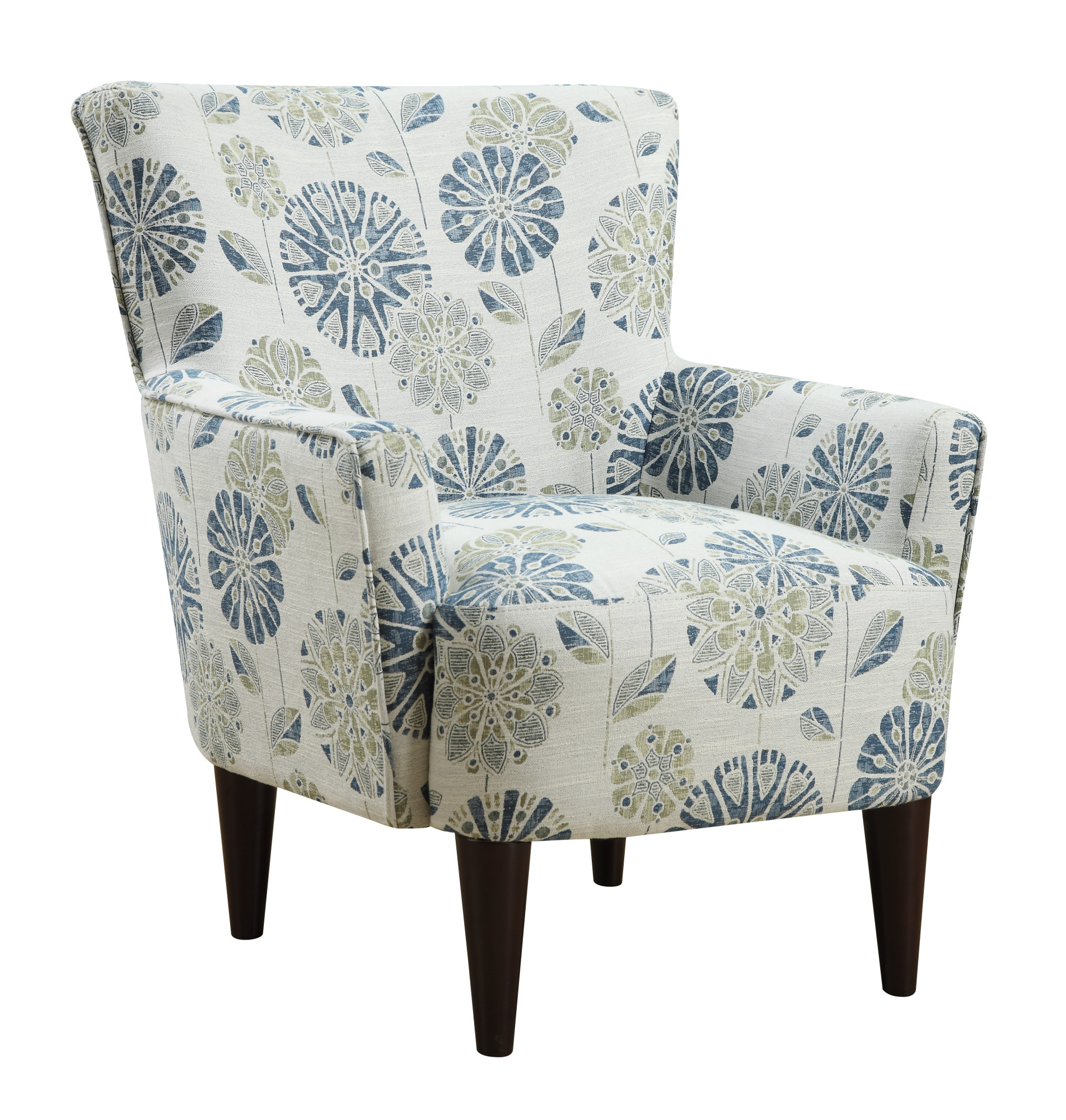 Emerald Home Flower Power Cascade Teal Accent Chair With Fabric